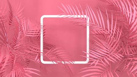 Tropical palm plant leaf pink background with 3D white frame. Nature summer illustration. 3D render 스톡 콘텐츠