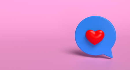 Like bubble social media 3d icon on background. Network love sign concept. 3D illustration.