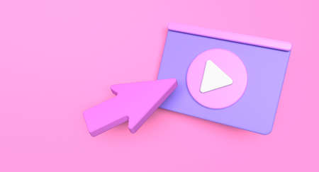 Web page social media concept. Video play icon illustration on background. 3D render 스톡 콘텐츠