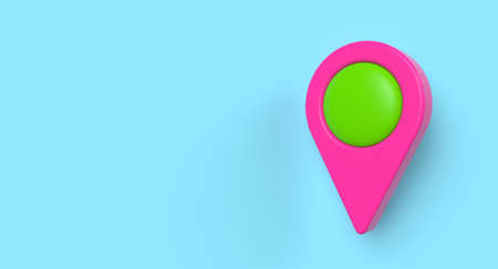 Map location pin sign icon on background. Travel and navigation concept. 3D illustration.