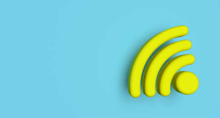 Wifi symbol on background. Wireless network sign. Communication technology concept illustration. 3D rendering.