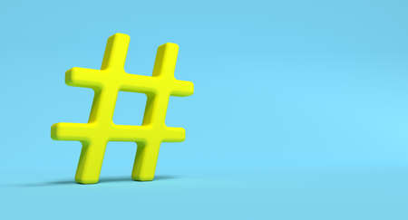 Hashtag symbol on background. Social media network concept illustration. 3D rendering.