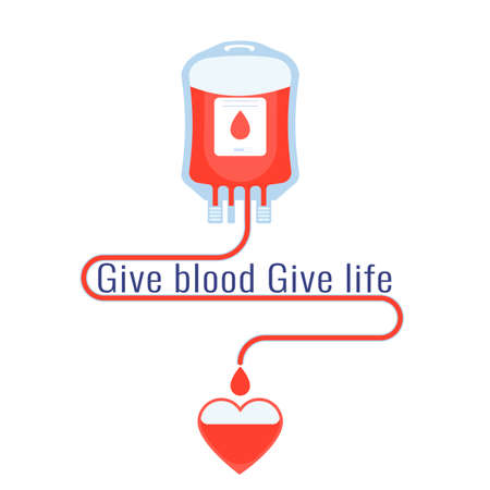 Blood donation, give blood, safe life and charity concept. Vector