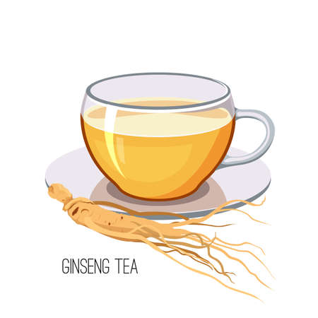 Ginseng tea. Health herb food medicine concept on white background. Vector illustration Illustration