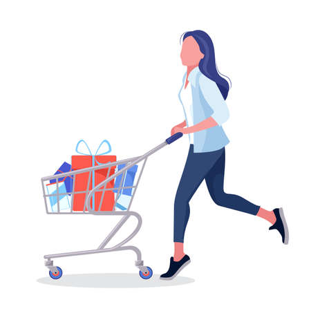 Girl carry a bag. Woman drive a shopping basket with lots of purchased goods. Vector