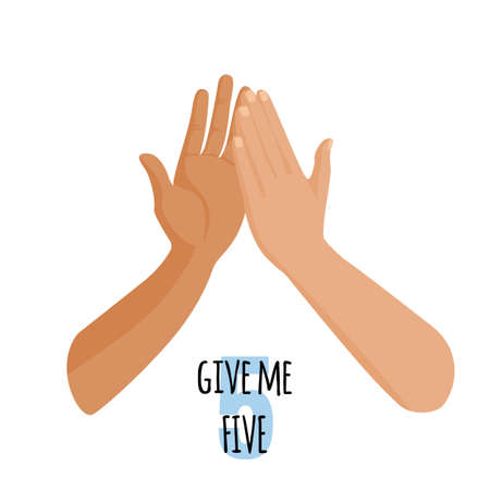 Give me five idea concept. Person touch hand of other person. Vector Illustration
