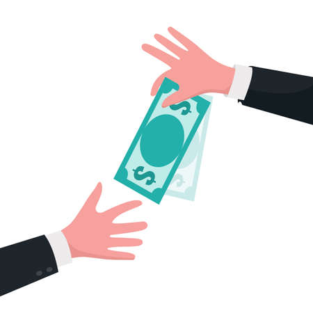 Give money concept. Hand giving dollars to other hand. Business finance vector illustration