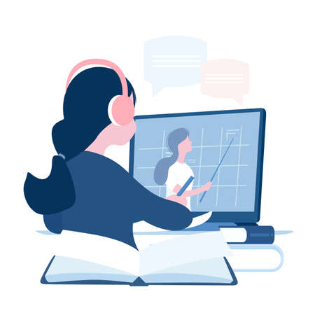 Education online concept. School student study at home on laptop. Vector