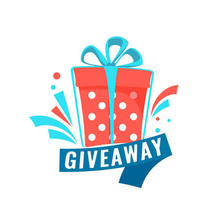 Giveaway social media contest concept. Banner with text for online event or competition. Vector Illustration