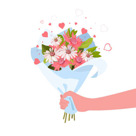 Person giving flowers bouquet. Romance and gift concept. Vector Illustration