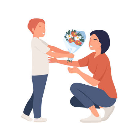 Giving flowers to mom. Mother day concept. Vector
