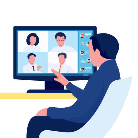 Video online conference. Person meeting with group of people. Team communication concept. Vector