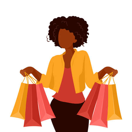 African american woman shopping on sale. Vector Illustration