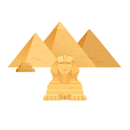Giza pyramids.Egypt ancient travel architecture sight. Vector