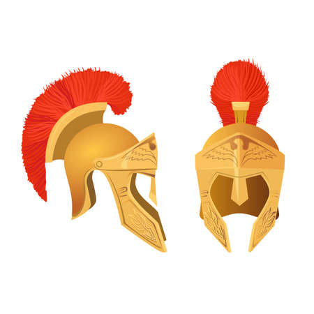 Gladiator helmet set. Roman ancient military armoring for head. Vector