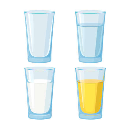 Glass of water, juice and milk and empty set. Vector Illustration