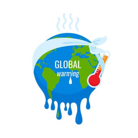 Global warming concept. Earth planet environment and nature heat idea. Vector Illustration