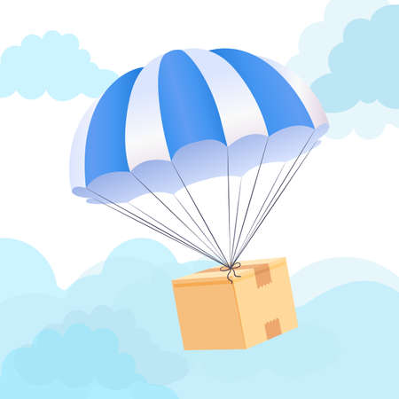 Parachute box delivery concept. Send package shipping service. Vector