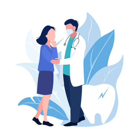 Doctor and patient or medial and health concept. Man and woman talk about healthcare. Vector