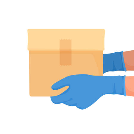 Courier delivered box with gloves on his hands. Food delivery in quarantine. Vector Illustration