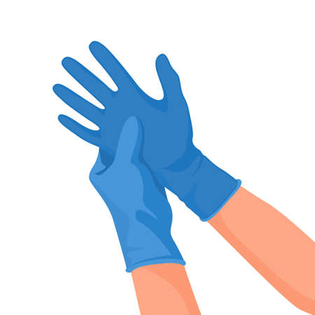 Hospital doctor wearing medical latex gloves on hands. Vector