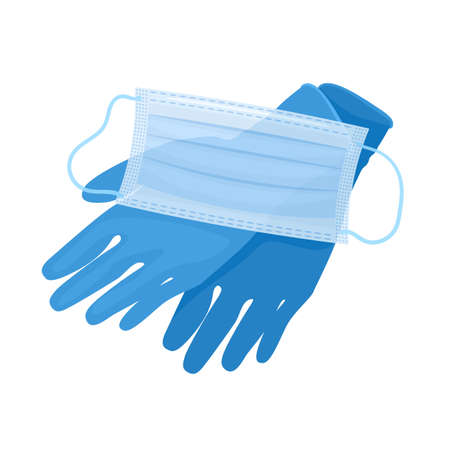 Medical gloves and mask isolated on white background. Health care protection and safety equipment from virus. Vector Illustration