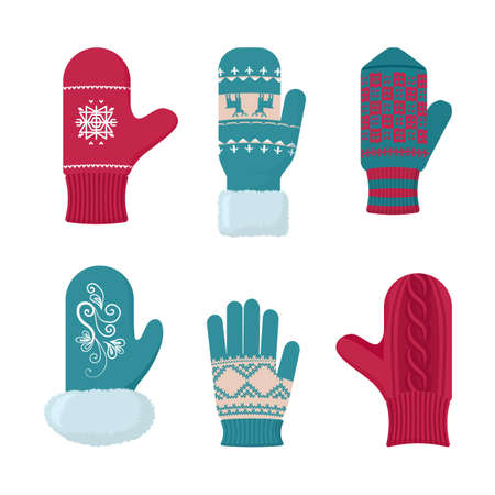 Gloves winter set. Fashion accessory for cold season. Vector