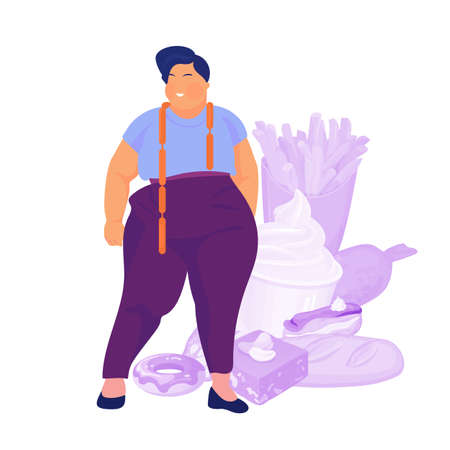 Gluttony concept. Fat and overweight person want to eat food. Vector
