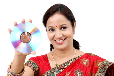 dvd rom: Woman with compact disc