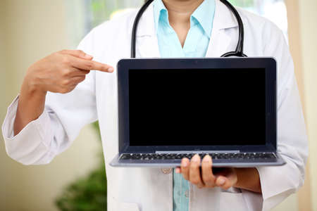Female doctor pointing in laptops blank screen Stock Photo