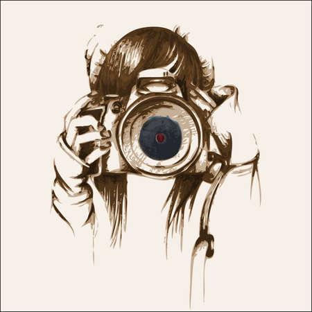 vectore: Hand drawn Photographer Illustration