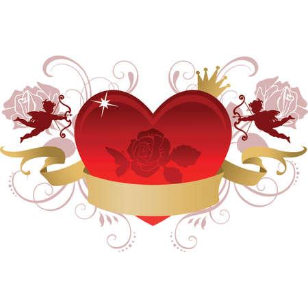 el coraz�n de san valent�n: Coraz�n de San Valent�n con la bandera
