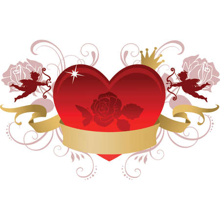 crowned: Valentine Heart with banner