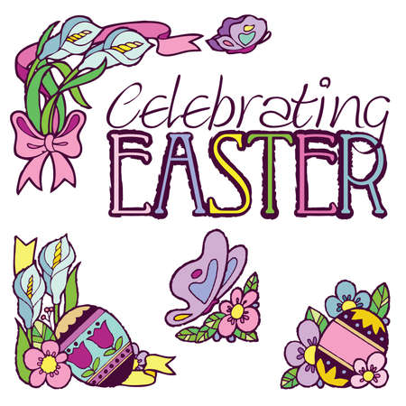 butterfly bow: Celebrating Easter Elements Illustration