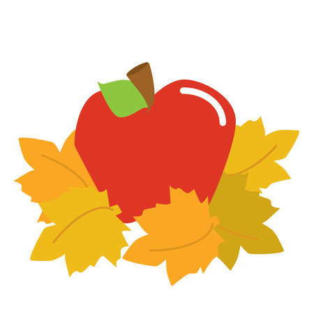 fall leaves: Fall apple and leaves Illustration