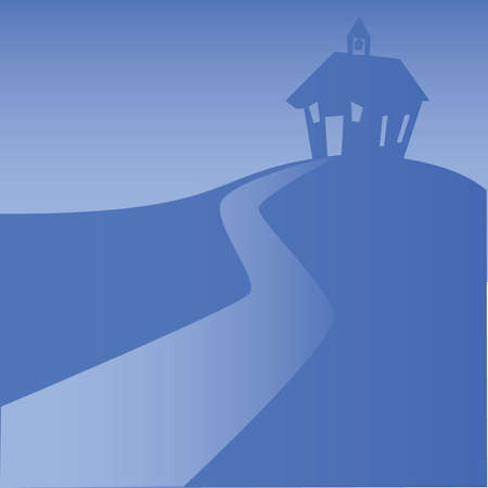 �back ground�: School House back ground Blue Illustration