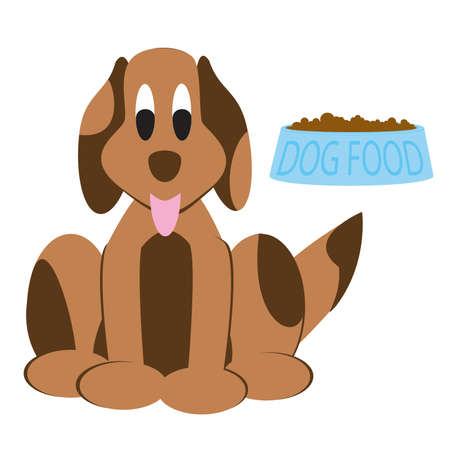 chow: Dog and his bowl  Illustration