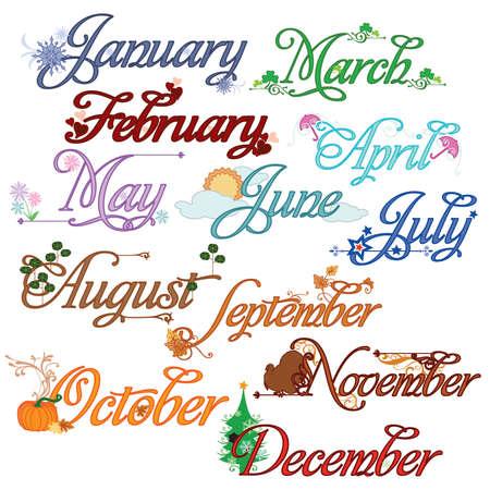 Monthly Calendar Titles Illustration