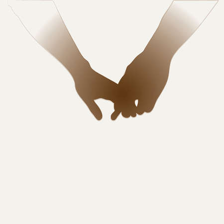 Holding Hands Vector Silhouette