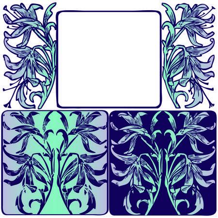 Vintage Nouveau Floral Art Frame Set Reklamní fotografie - 42547691