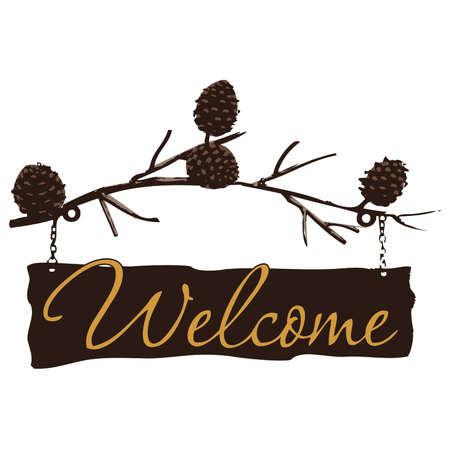 Welkom Teken over Pine Cone Branch Stock Illustratie
