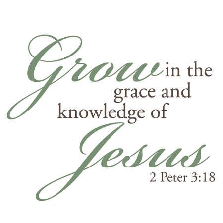 2 Peter 3:18 Inspirational Scripture Typography Illustration