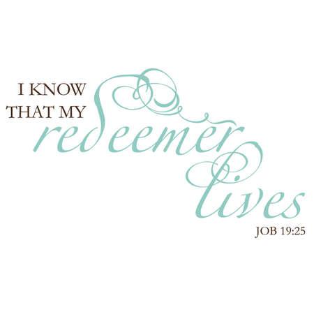 redeemer: Job 19:25 Inspirational Scripture Typography