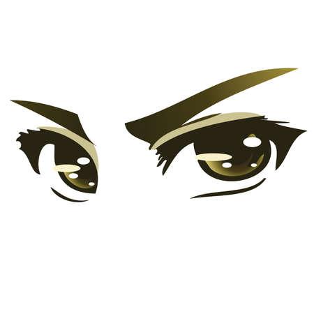 facial features: Green Intense Anime eyes