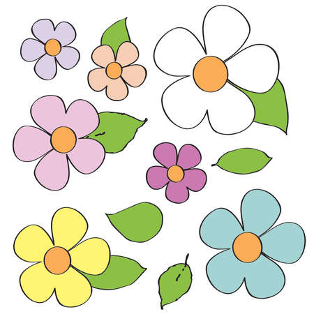 Pastel Multi Colored Daisies and Leaves