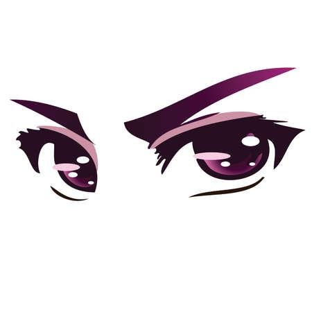 ojos anime: Intensos ojos p�rpura Anime Vectores