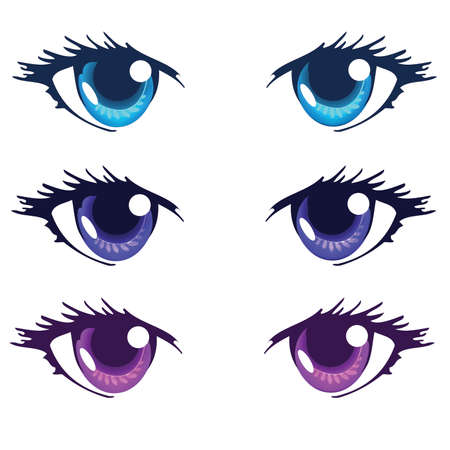 Light Blue Royal blue and Purple Color Anime Eyes