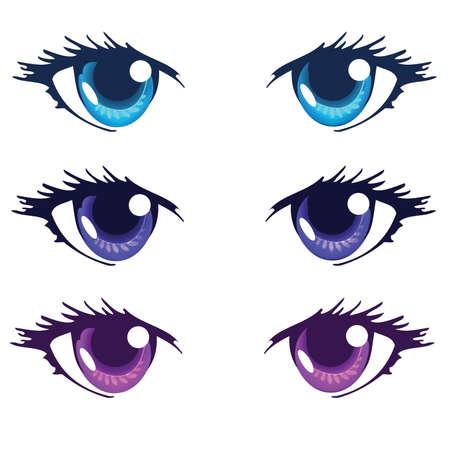 royal blue: Light Blue Royal blue and Purple Color Anime Eyes