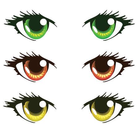 ojos anime: Luz Verde Rojo Naranja y amarillo Anime Ojos