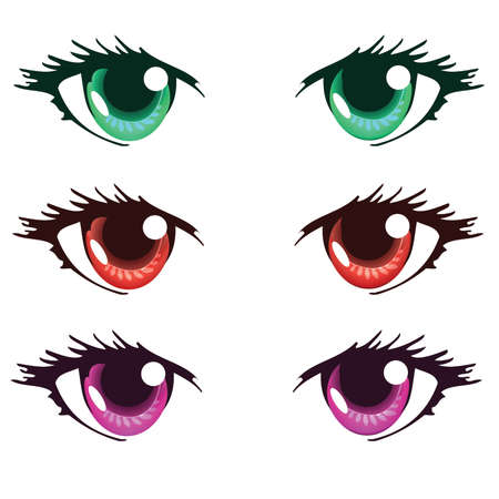 Green Red and Purple Color Anime Eyes